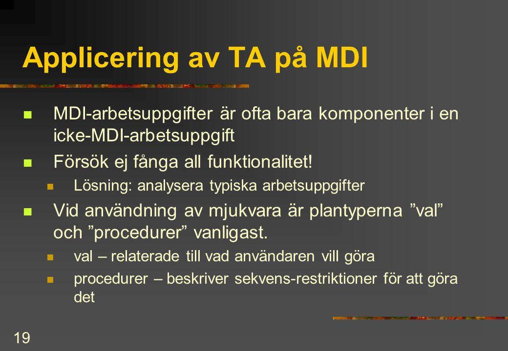 Applicering av TA på MDI