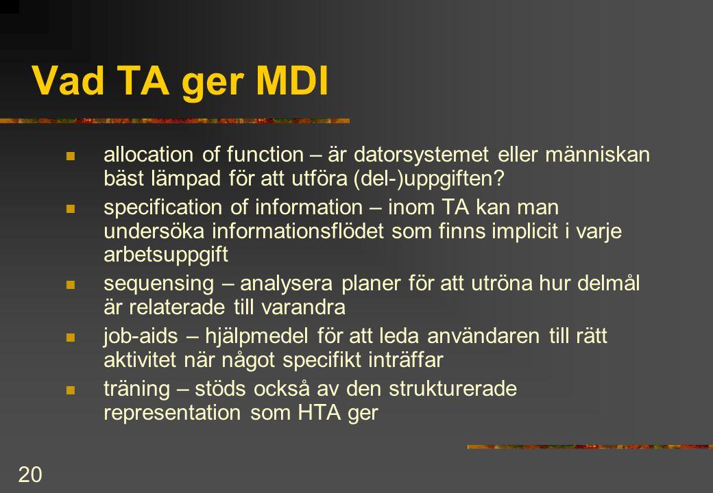 Vad TA ger MDI allocation of function – är datorsystemet eller människan bäst lämpad för att utföra (del-)uppgiften