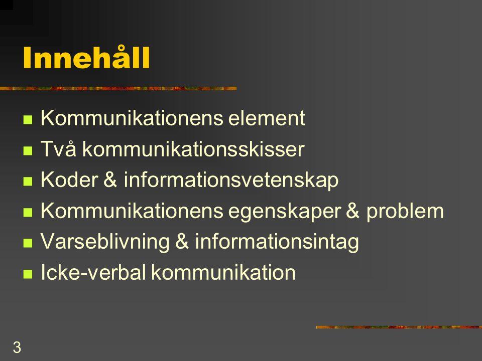 Innehåll Kommunikationens element Två kommunikationsskisser
