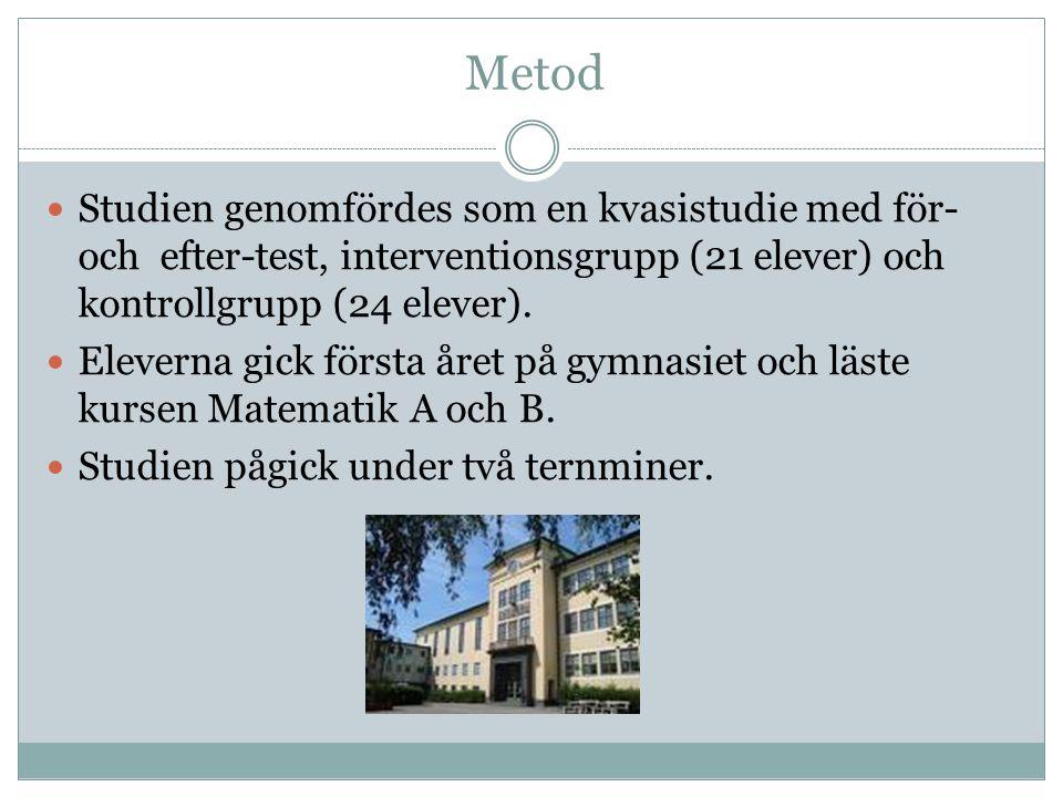 Metod Studien genomfördes som en kvasistudie med för- och efter-test, interventionsgrupp (21 elever) och kontrollgrupp (24 elever).