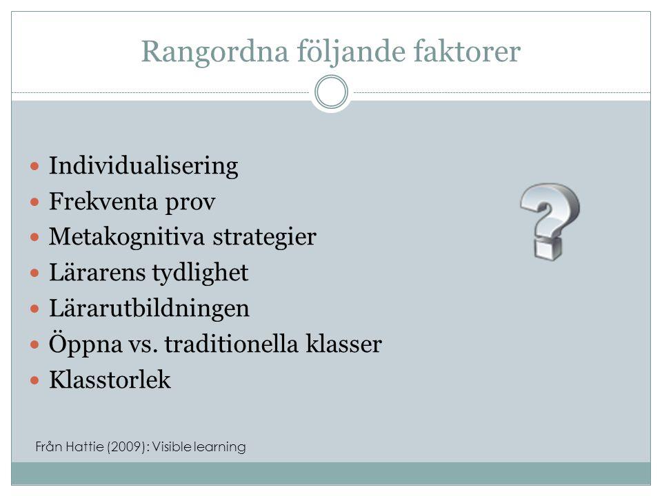 Rangordna följande faktorer