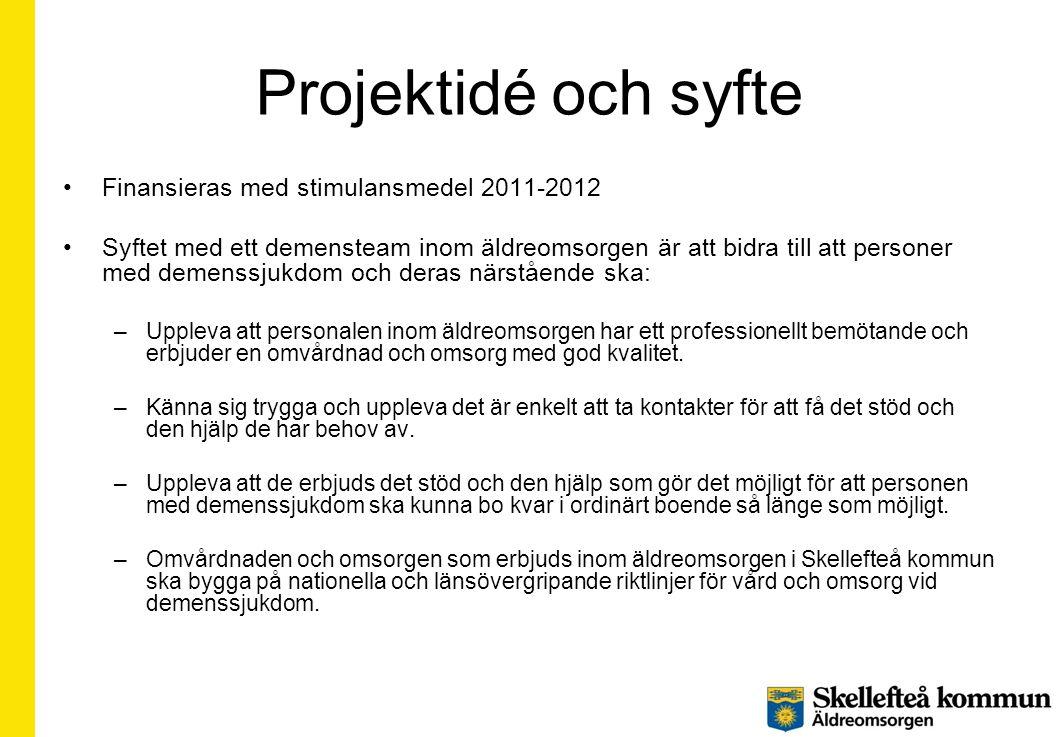 Projektidé och syfte Finansieras med stimulansmedel 2011-2012