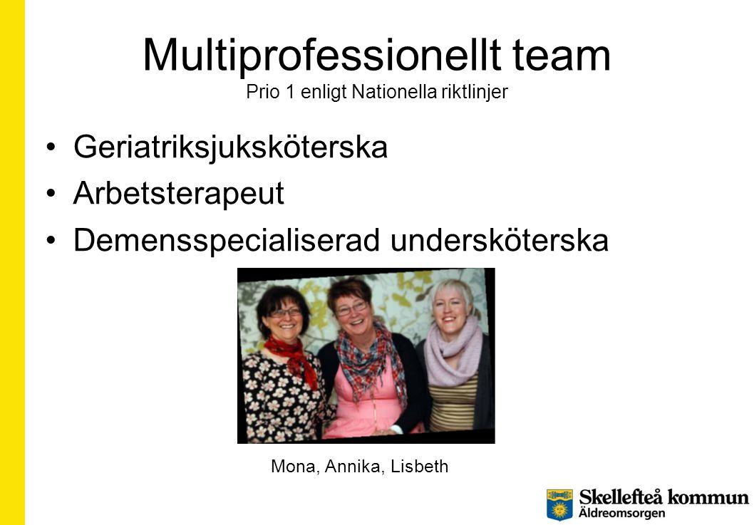 Multiprofessionellt team Prio 1 enligt Nationella riktlinjer