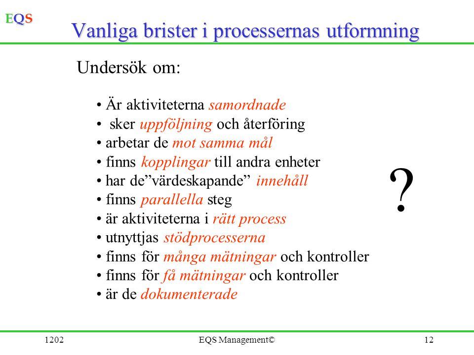 Vanliga brister i processernas utformning