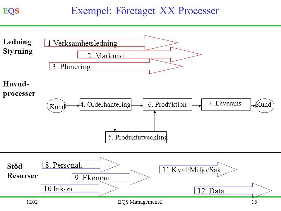 Exempel: Företaget XX Processer