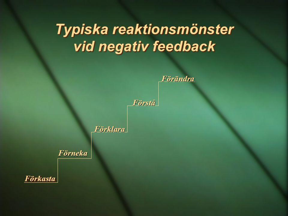 Typiska reaktionsmönster vid negativ feedback