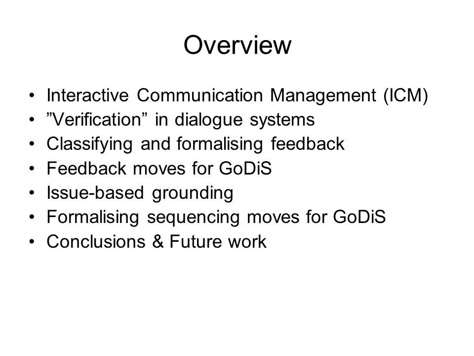 Overview Interactive Communication Management (ICM)