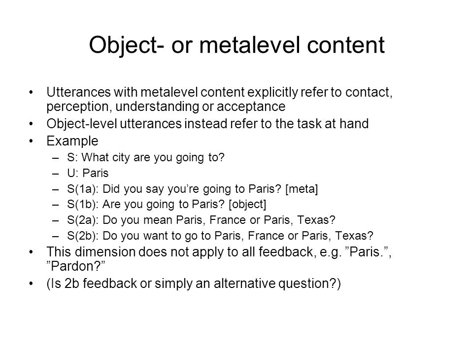 Object- or metalevel content
