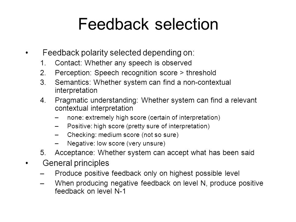 Feedback selection Feedback polarity selected depending on: