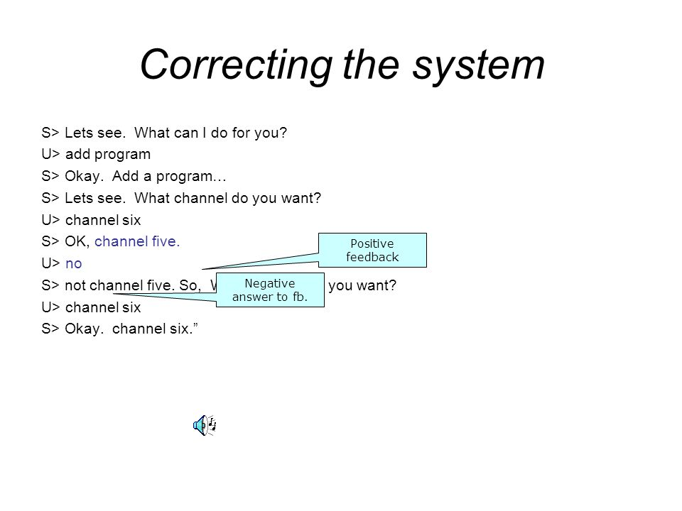 Correcting the system S> Lets see. What can I do for you