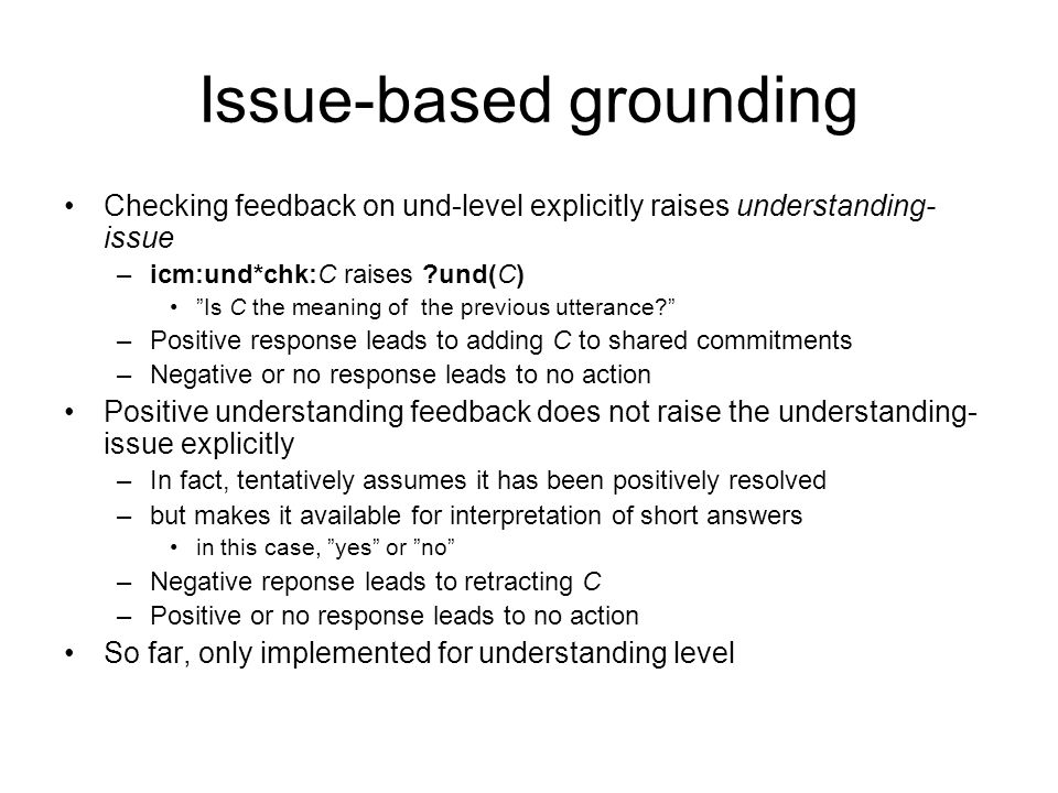 Issue-based grounding