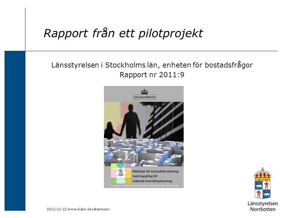 Rapport från ett pilotprojekt
