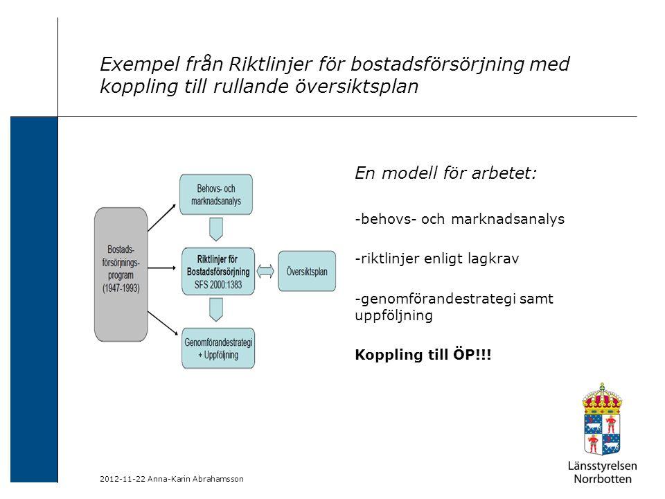 Exempel från Riktlinjer för bostadsförsörjning med koppling till rullande översiktsplan