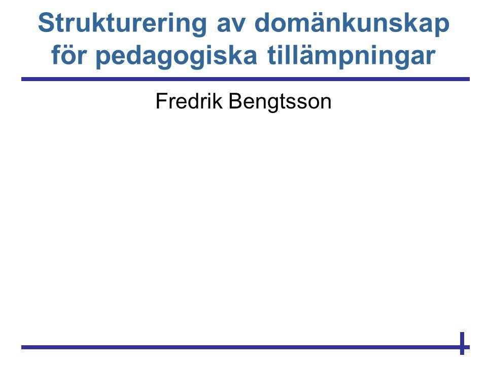 Strukturering av domänkunskap för pedagogiska tillämpningar