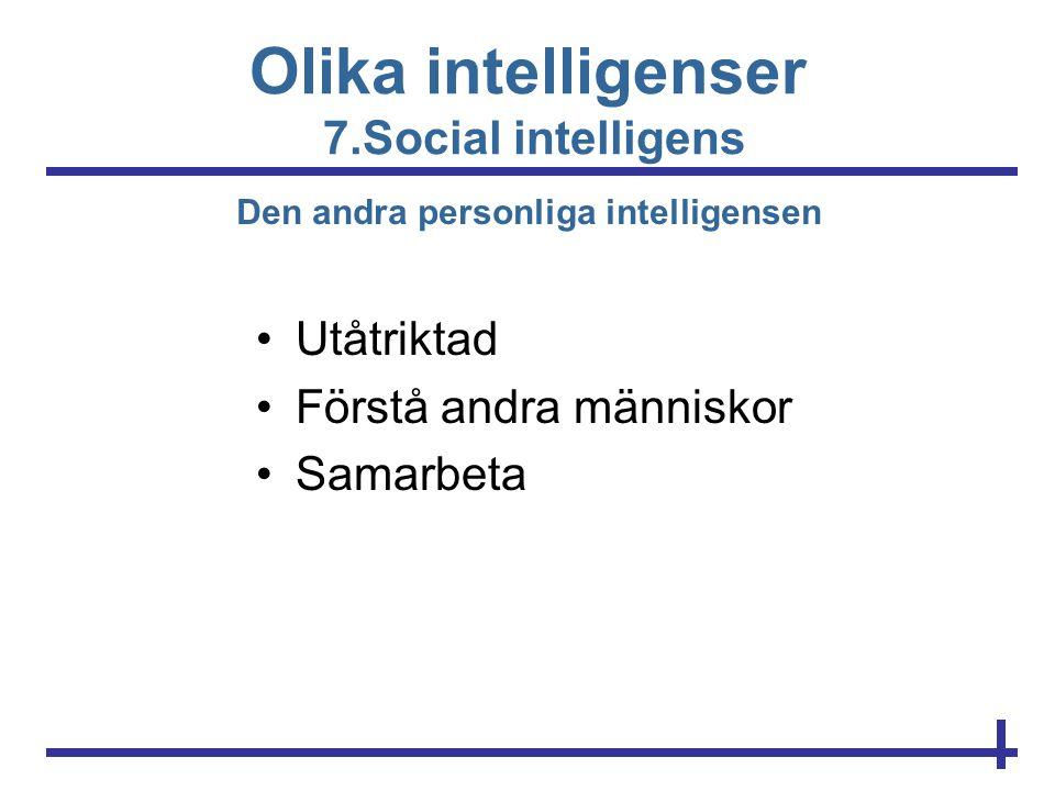 Olika intelligenser 7.Social intelligens