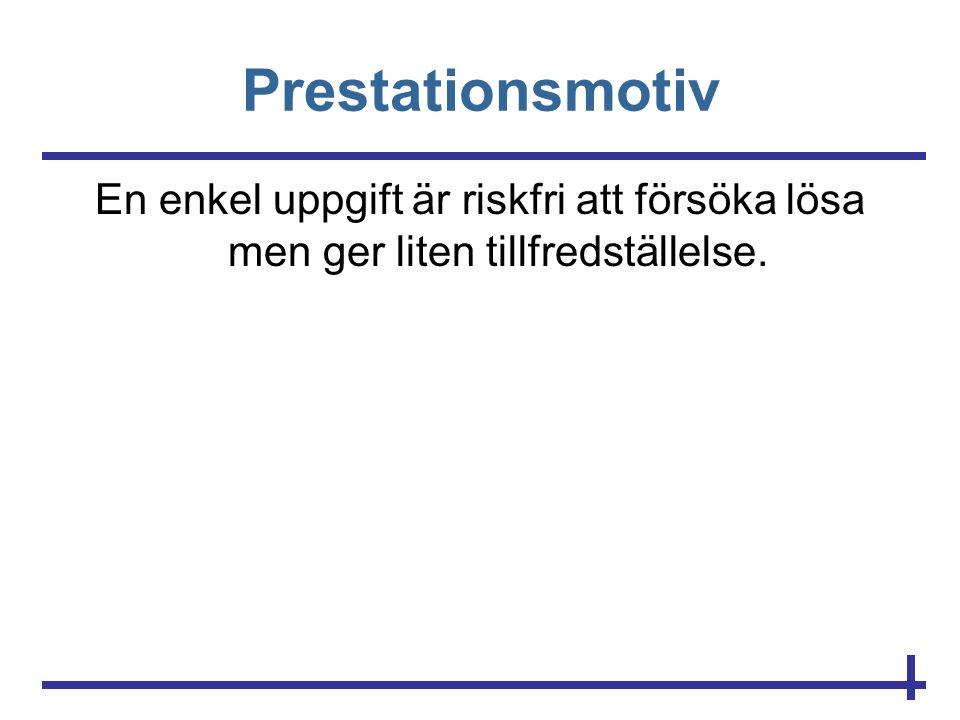 Prestationsmotiv En enkel uppgift är riskfri att försöka lösa men ger liten tillfredställelse.
