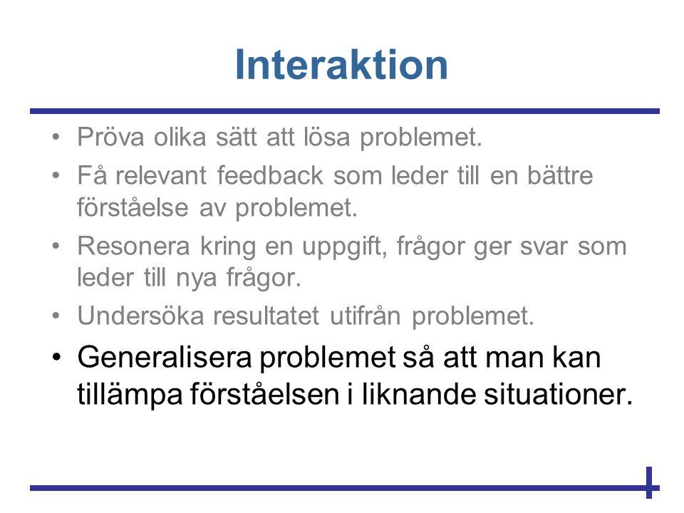 Interaktion Pröva olika sätt att lösa problemet. Få relevant feedback som leder till en bättre förståelse av problemet.