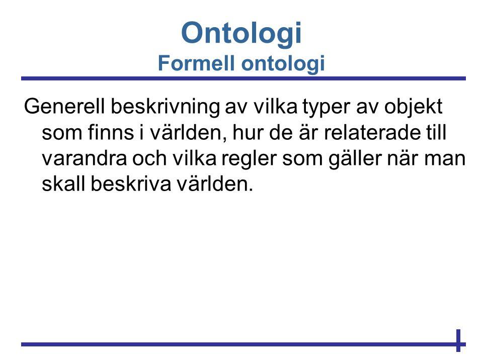Ontologi Formell ontologi
