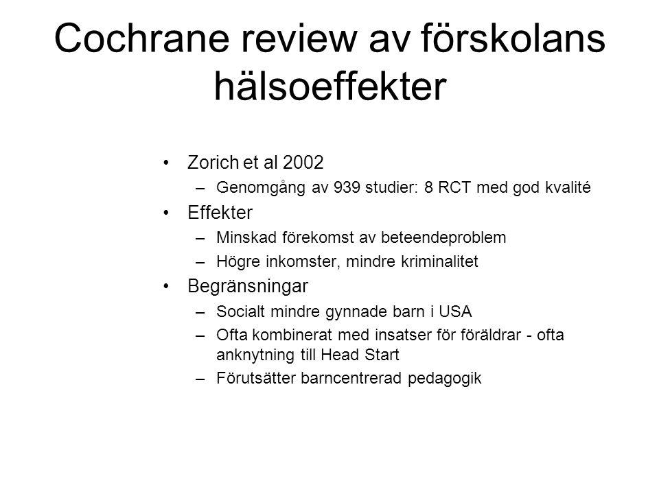 Cochrane review av förskolans hälsoeffekter