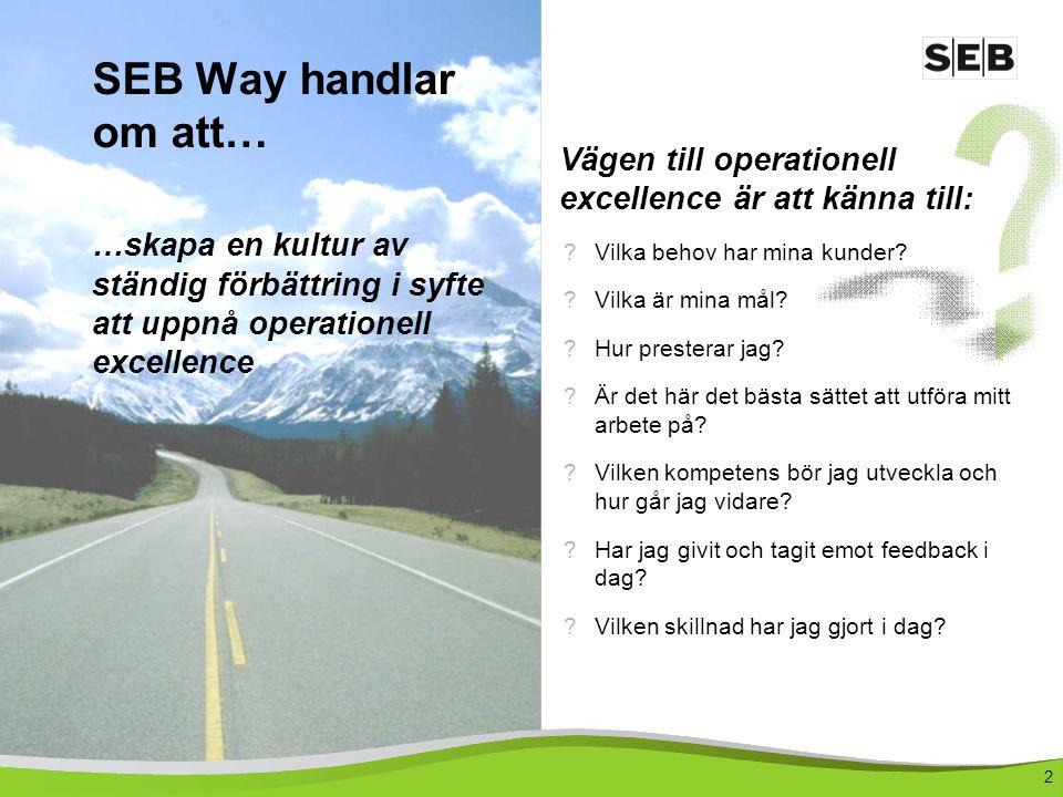 SEB Way handlar om att… …skapa en kultur av ständig förbättring i syfte att uppnå operationell excellence