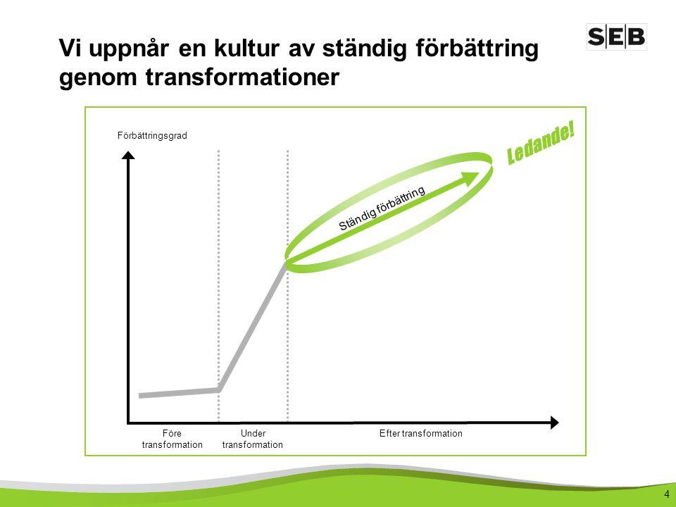 Vi uppnår en kultur av ständig förbättring genom transformationer