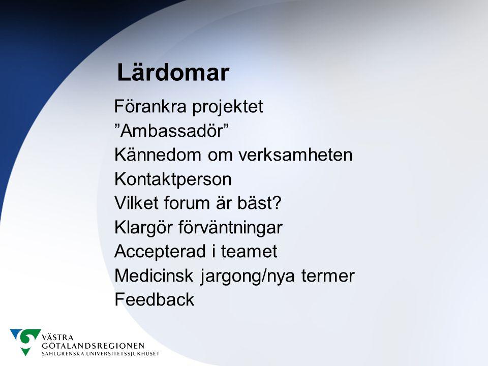 Lärdomar Ambassadör Kännedom om verksamheten Kontaktperson