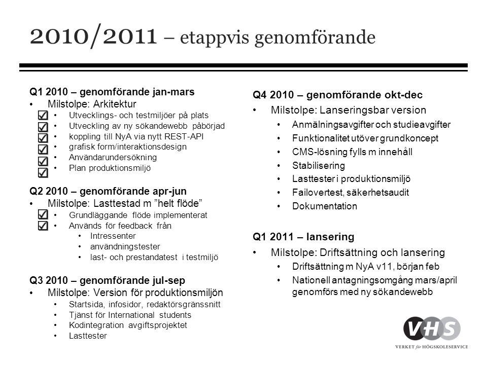 2010/2011 – etappvis genomförande