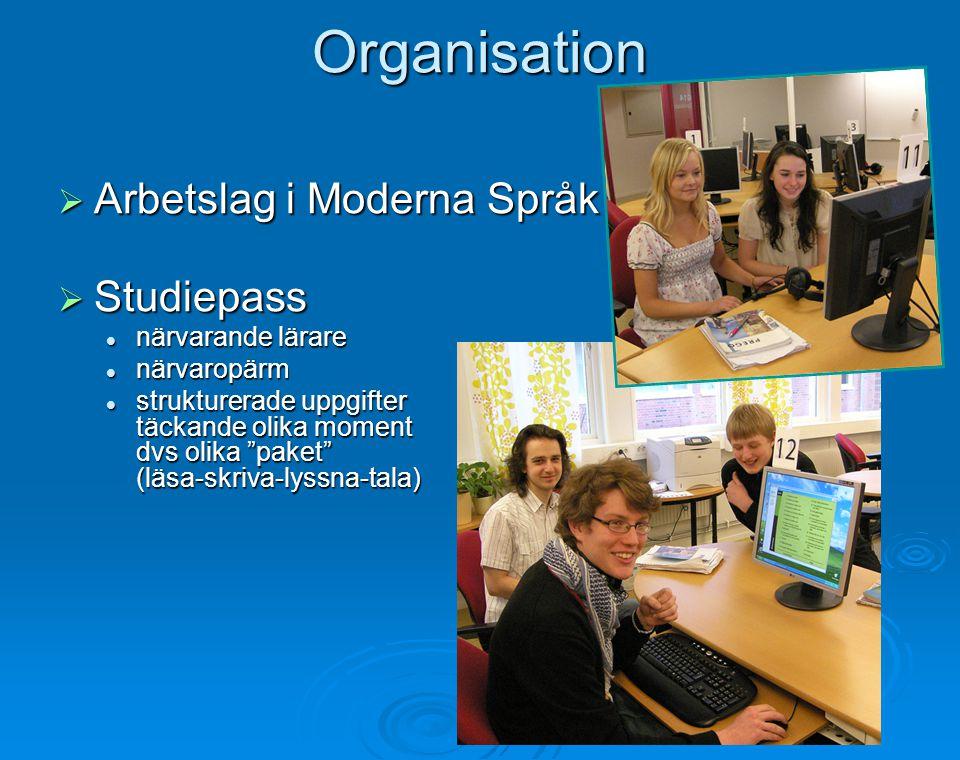 Organisation Arbetslag i Moderna Språk Studiepass närvarande lärare
