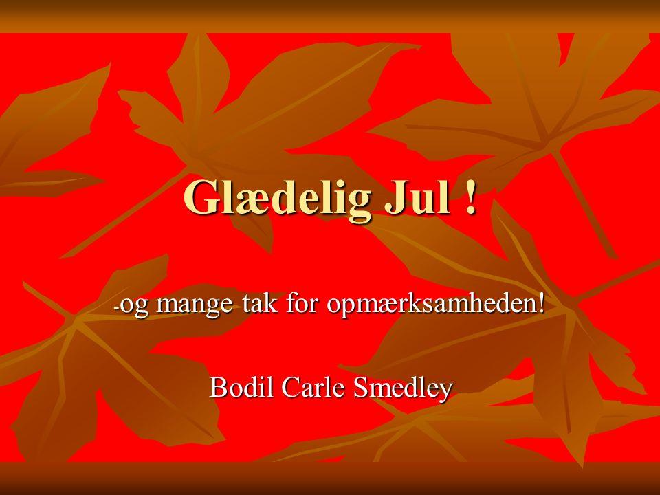 og mange tak for opmærksamheden! Bodil Carle Smedley