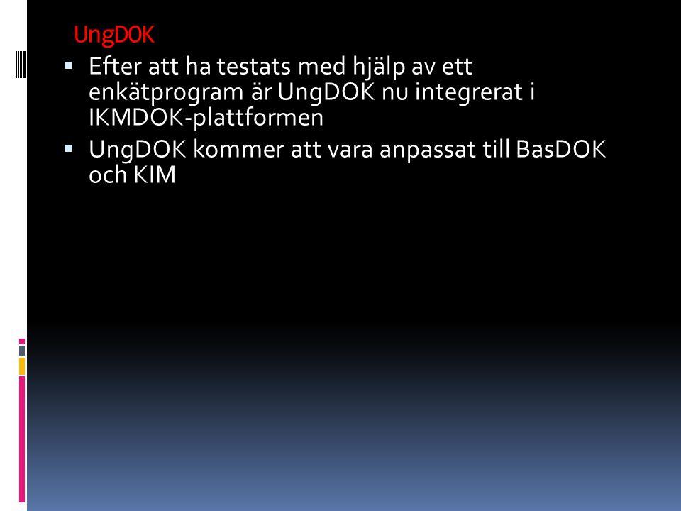 UngDOK Efter att ha testats med hjälp av ett enkätprogram är UngDOK nu integrerat i IKMDOK-plattformen.