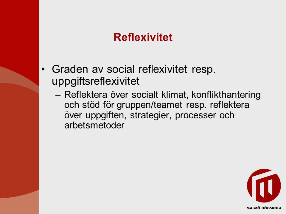 Graden av social reflexivitet resp. uppgiftsreflexivitet
