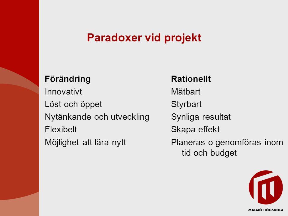 Paradoxer vid projekt Förändring Innovativt Löst och öppet