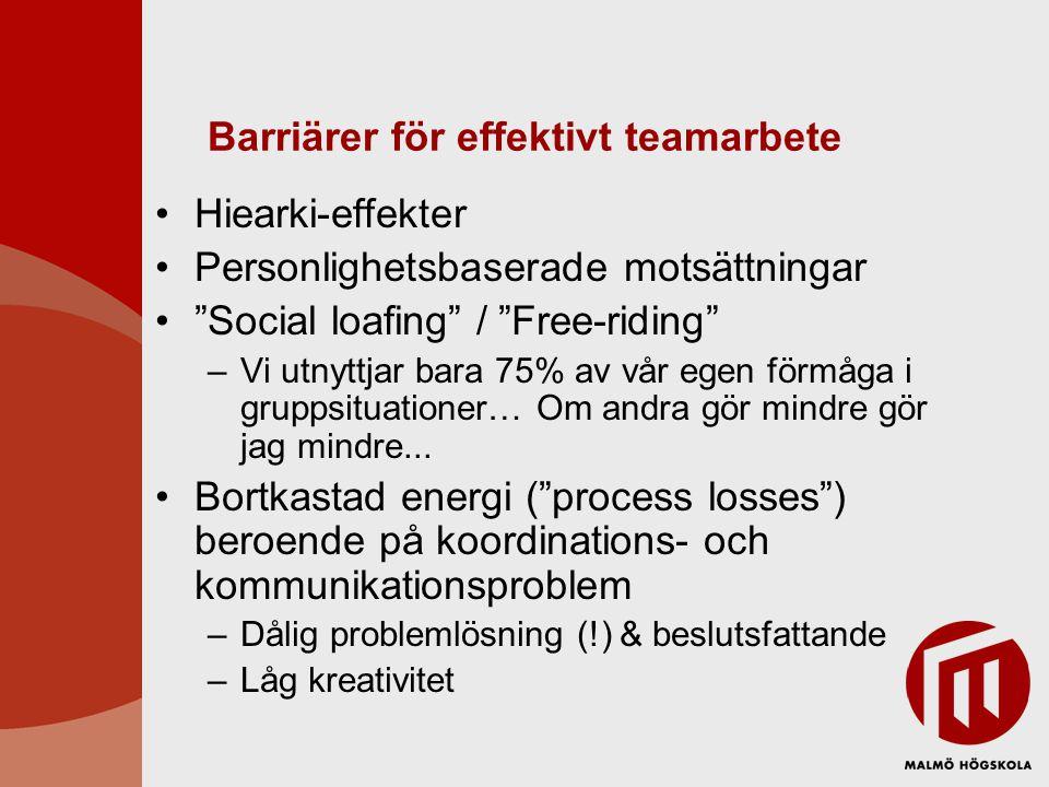 Barriärer för effektivt teamarbete