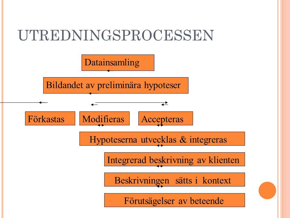 UTREDNINGSPROCESSEN Datainsamling Bildandet av preliminära hypoteser