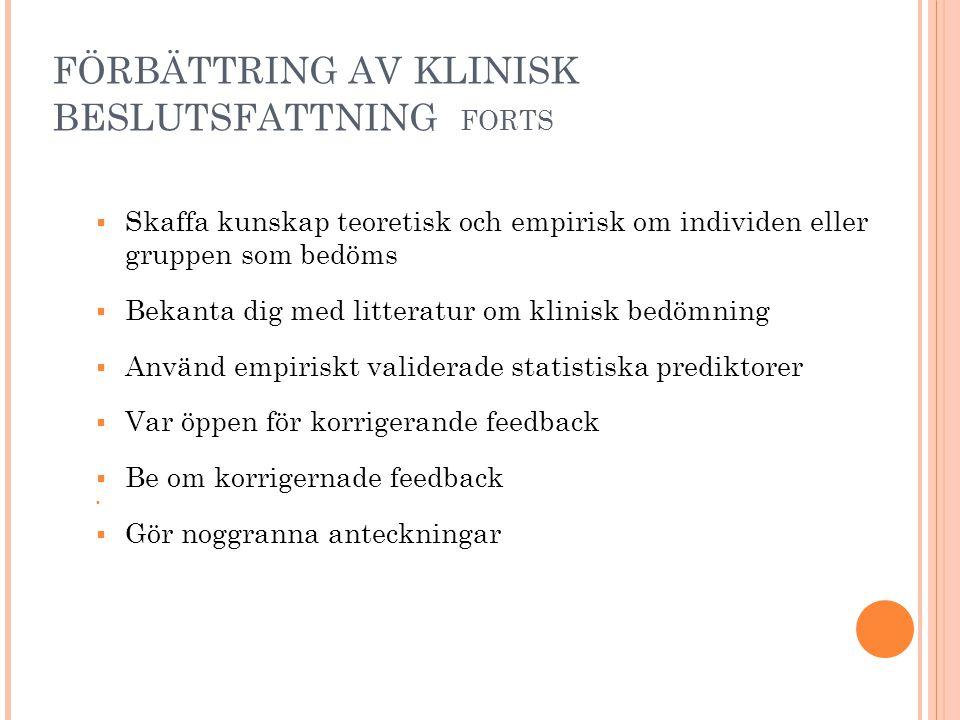 FÖRBÄTTRING AV KLINISK BESLUTSFATTNING FORTS