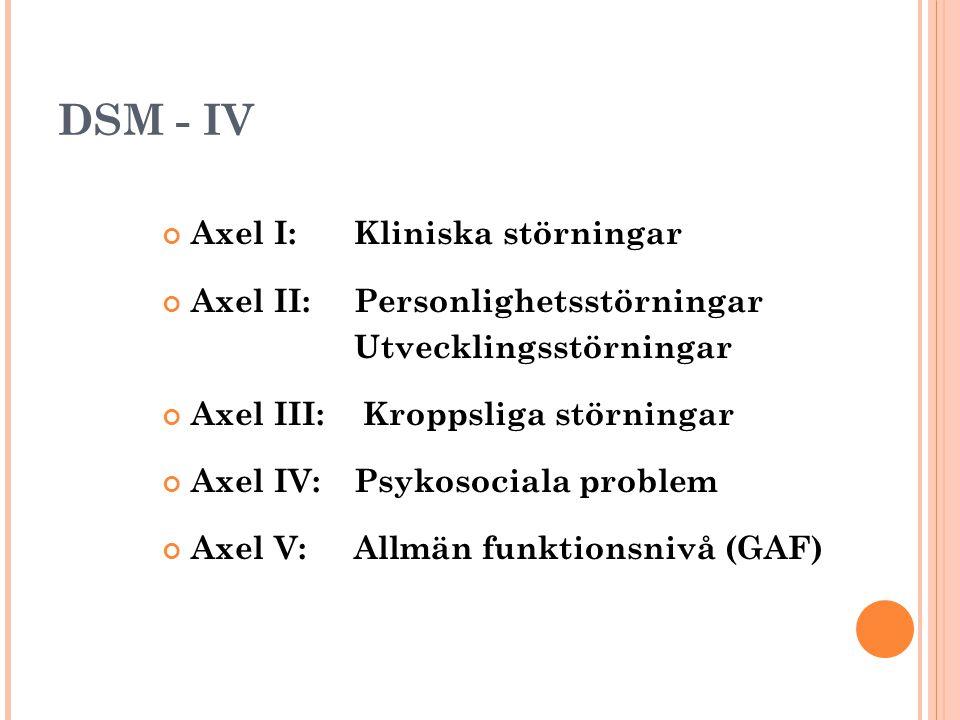 DSM - IV Axel I: Kliniska störningar Axel II: Personlighetsstörningar