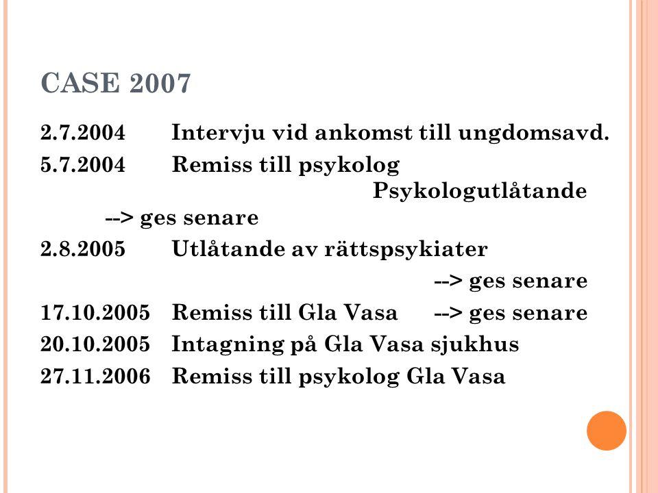 CASE 2007 2.7.2004 Intervju vid ankomst till ungdomsavd.