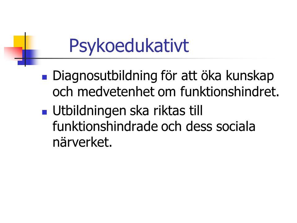 Psykoedukativt Diagnosutbildning för att öka kunskap och medvetenhet om funktionshindret.