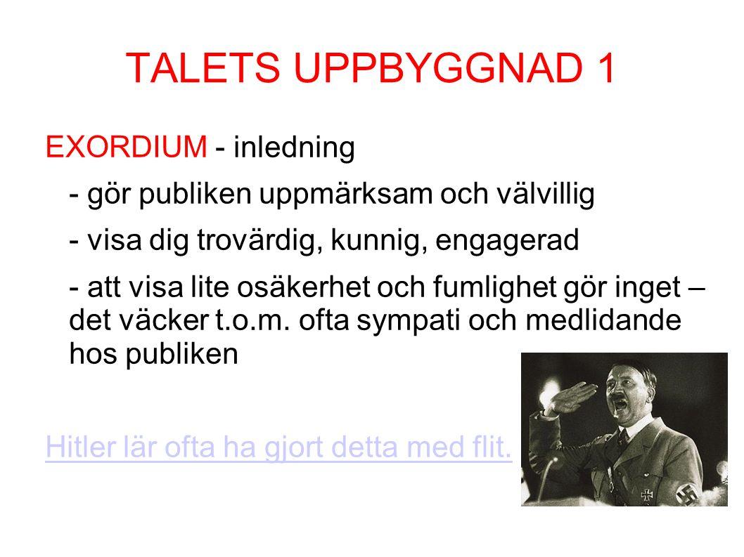 TALETS UPPBYGGNAD 1 EXORDIUM - inledning