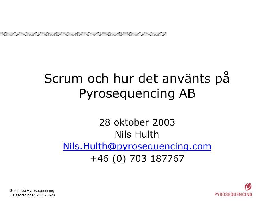 Scrum och hur det använts på Pyrosequencing AB
