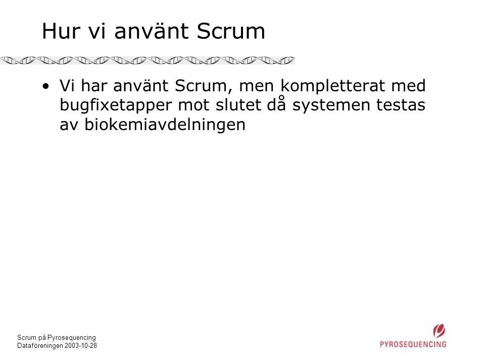 Hur vi använt Scrum Vi har använt Scrum, men kompletterat med bugfixetapper mot slutet då systemen testas av biokemiavdelningen.