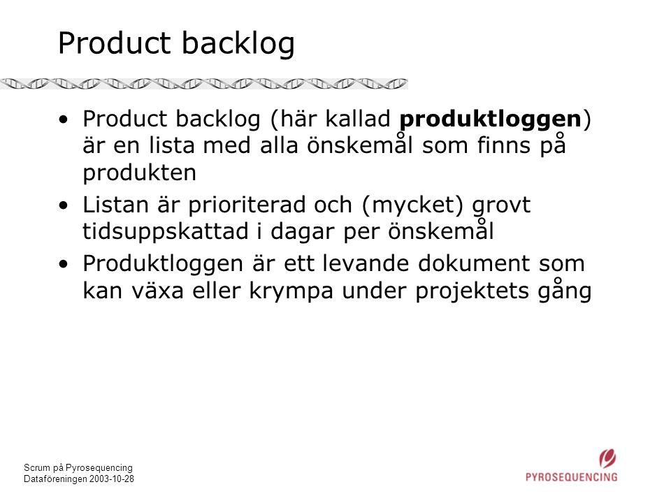 Product backlog Product backlog (här kallad produktloggen) är en lista med alla önskemål som finns på produkten.