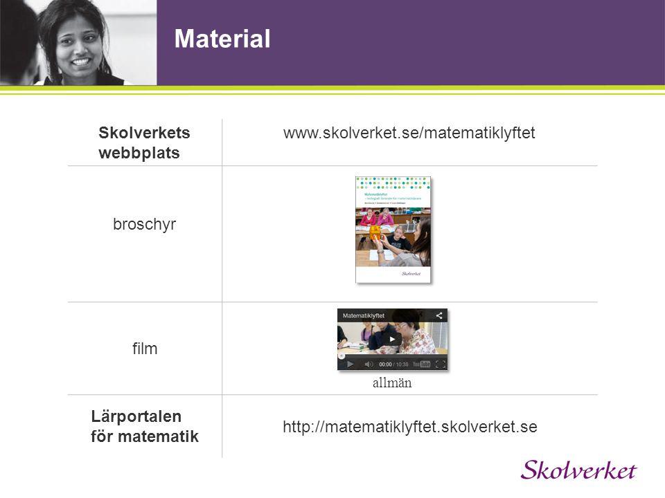 Material Skolverkets webbplats www.skolverket.se/matematiklyftet