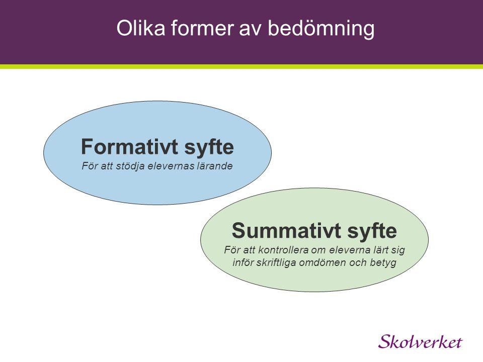 Formativt syfte Summativt syfte