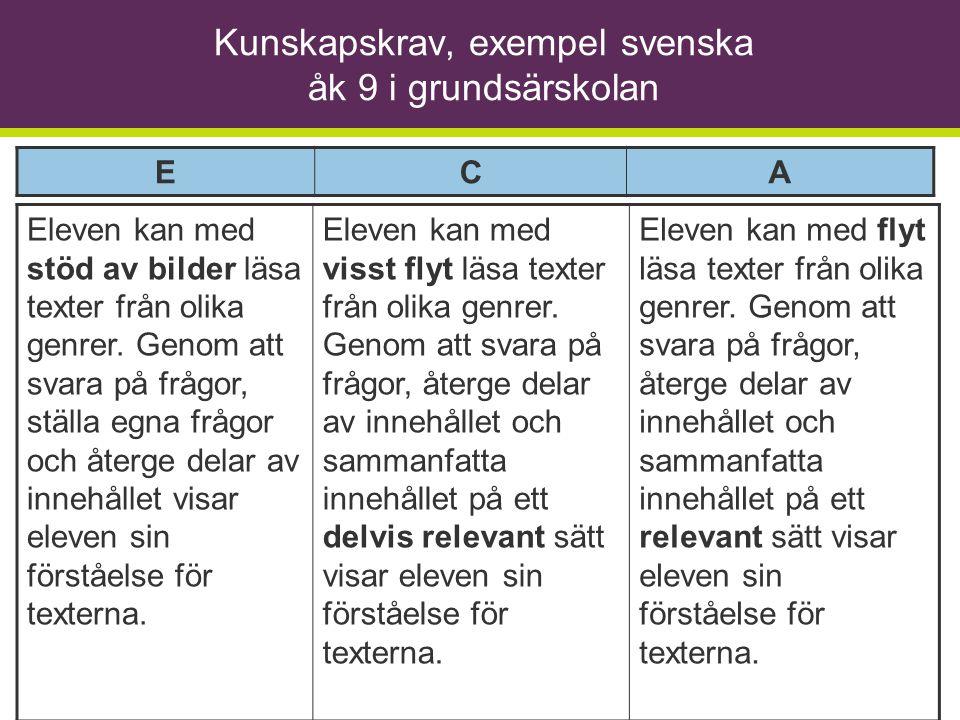Kunskapskrav, exempel svenska åk 9 i grundsärskolan