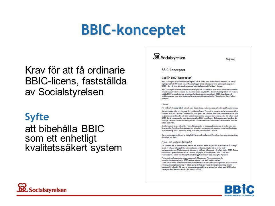 BBIC-konceptet Krav för att få ordinarie BBIC-licens, fastställda av Socialstyrelsen. Syfte.
