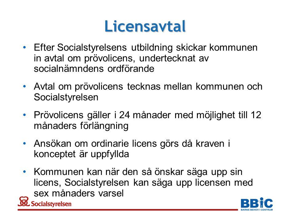 Licensavtal Efter Socialstyrelsens utbildning skickar kommunen in avtal om prövolicens, undertecknat av socialnämndens ordförande.