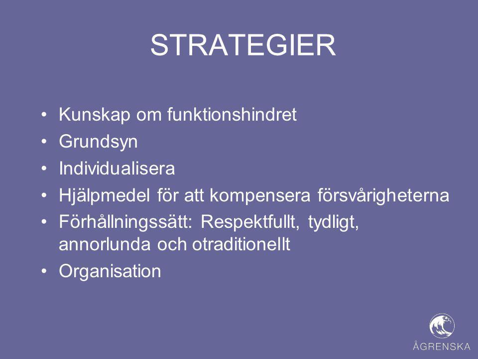 STRATEGIER Kunskap om funktionshindret Grundsyn Individualisera