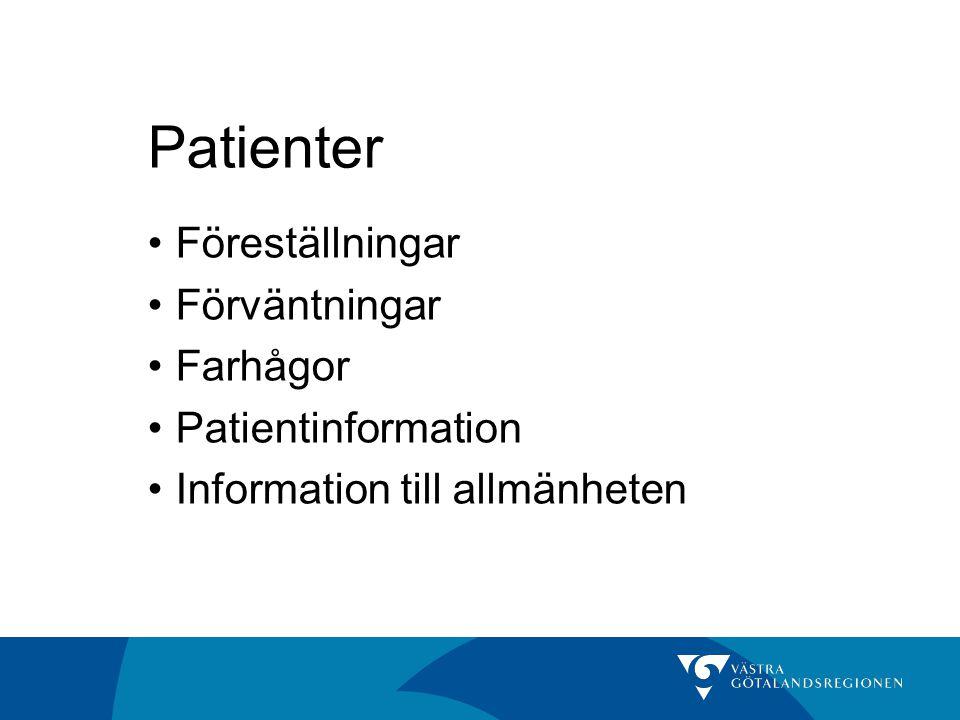 Patienter Föreställningar Förväntningar Farhågor Patientinformation