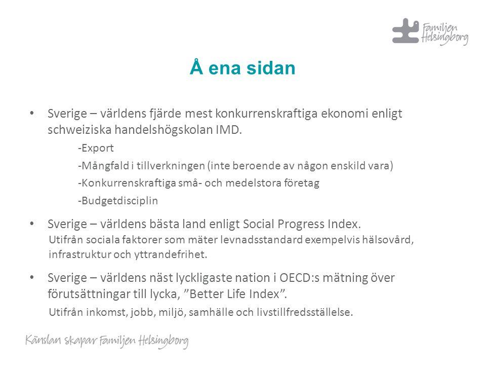 Å ena sidan Sverige – världens fjärde mest konkurrenskraftiga ekonomi enligt schweiziska handelshögskolan IMD.